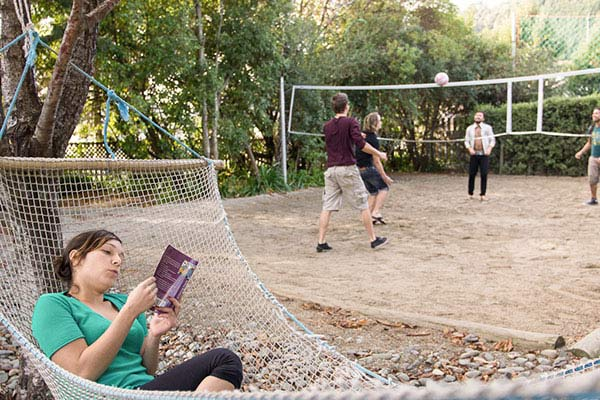 nelson hostel outdoor volleyball field